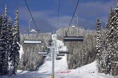 Ski lift in spring Stock Photo