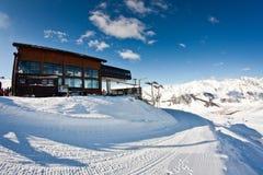 Ski lift station. Upper station of ski lift in Livigno Royalty Free Stock Image
