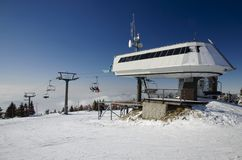 Ski lift station Stock Photo