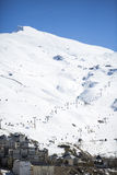Ski lift station in mountains at winter. In Sierra Nevada Royalty Free Stock Photo