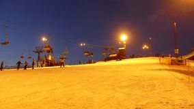 Ski lift station at night. Time lapse stock video footage