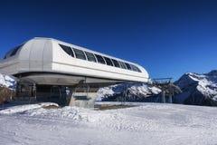 Ski lift station on the slope stock images