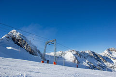 Ski lift in the Stubai Alps Royalty Free Stock Photography