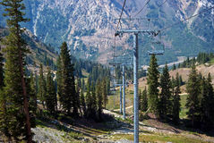 Ski lift in summer Stock Images