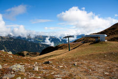 Ski lift in summer. Skiing Over the dolomites in summer Royalty Free Stock Photo