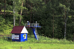 Ski lift in summer Stock Photography