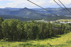 Ski lift in the summer landscape. Stock Images