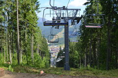 Ski lift in summer. For skiers Royalty Free Stock Image