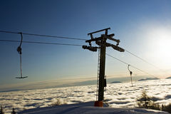 Ski lift at sunset Royalty Free Stock Photos