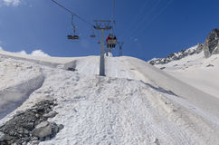 The ski lift to the top of the mountain at an altitude of 2400 meters in the Alps Royalty Free Stock Photography