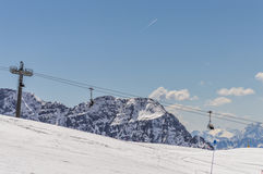 Ski lift at the top of the Dolomites Alps Mountains Stock Images
