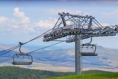 Ski lift on on the top of mountain 2 Stock Photo