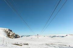 Ski lift on the top of mountains. View of ski lift on the top of mountains Stock Photos