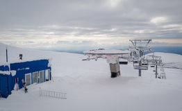 Ski lift top station Royalty Free Stock Photography