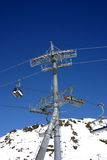 Ski lift tower. Double ski lift tower in high mountains Royalty Free Stock Images