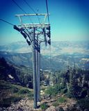 Ski Lift Tower Summer Mountain Utah Royaltyfria Foton
