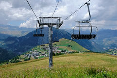 Ski lift tower in the summer time Royalty Free Stock Image