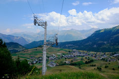 Ski lift track in the summer Royalty Free Stock Photo