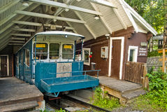 Ski lift or tram in storage in Are Sweden. Tram or car used as a ski lift in storage building or boarding platform Royalty Free Stock Photo