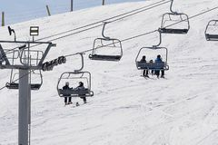 Ski Chair Lift in Winter royalty free stock images