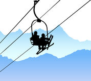 Ski lift vector Royalty Free Stock Photo