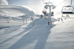 Ski lift. Very cold, windy winter day in ski resort - the upper end of the ski lift against cloud Altocumulus Lenticuleris Royalty Free Stock Image