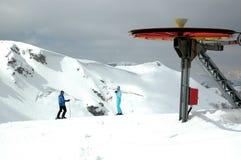 Ski lift wheel. On the top of mountain Stock Photos