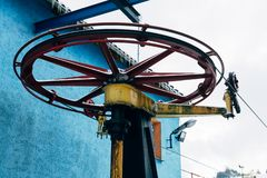 Ski lift wheel royalty free stock images