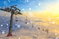 Ski lift on winter day Royalty Free Stock Photography