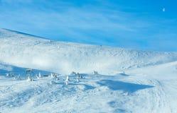 Ski lift on winter hill. Royalty Free Stock Photo