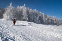 Without a ski lift. Winter landscape from Krynica-Zdroj in Poland. A skier is walking up a slope Royalty Free Stock Photo