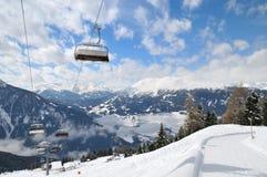 Ski lift in winter mountain stock photography