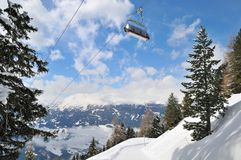 Ski lift in winter mountain Stock Photo