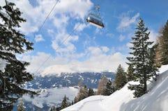 Ski lift in winter mountain stock photo