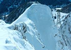 Ski lift between in winter mountain (Austria). Royalty Free Stock Photos