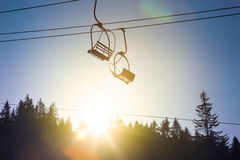 Ski lift with winter mountains Royalty Free Stock Images