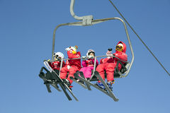 Ski Lift In Yong Pyong Korea. Kids On A Ski Lift In Seoul Korea Yong Pyong Ski Resort Royalty Free Stock Photography