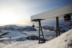 Ski lifts. Image of snowy mountains and gondola in Alpe d'Huez, France Royalty Free Stock Images