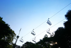 Ski lifts against blue sky Royalty Free Stock Photos
