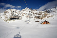 Ski lifts in Alpe d'Huez Stock Images