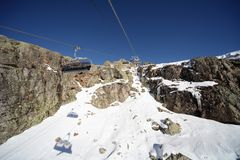 Ski lifts in Alpe d'Huez Stock Photos