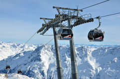 Ski lifts in Austria. Ski lifts in Solden resort Austria Stock Photography