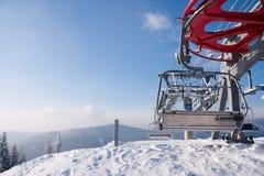 Ski lifts in Carpathian Mountains Stock Photo