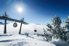 Ski lifts and Clouds in Zillertal Arena ski resort Austria. Ski lifts and Clouds in Zillertal Arena ski resort in Zillertal in Tyrol. Mayrhofen in Austria in royalty free stock photos
