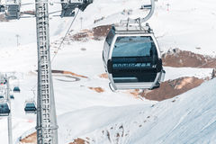 The ski lifts durings bright winter day Stock Image