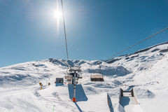 Ski lifts durings bright winter day Stock Photography