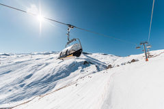Ski lifts durings bright winter day Stock Images