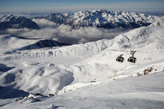 Ski lifts, gondola in alpe d'huez Royalty Free Stock Image