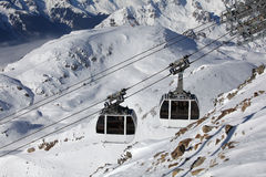 Ski lifts, gondola in alpe d'huez Stock Photos