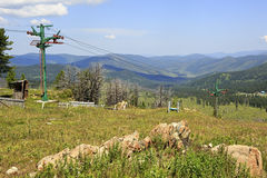 Ski lifts of Mount Tiyahty. Sports complex Stock Images